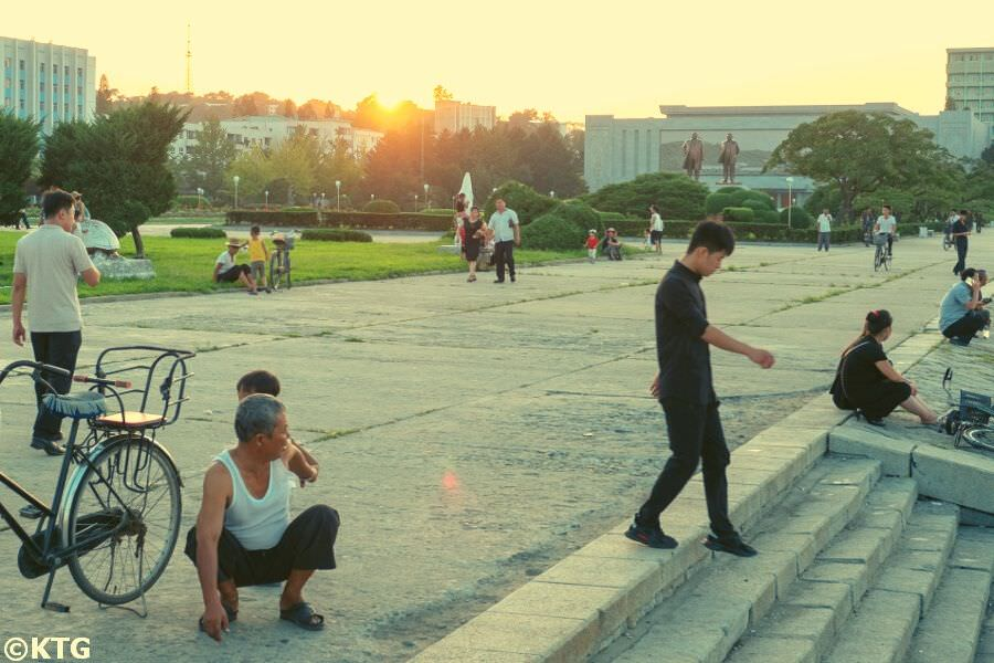 Locals walking in Wonsan, North Korea (DPRK). Trip arranged by KTG tours