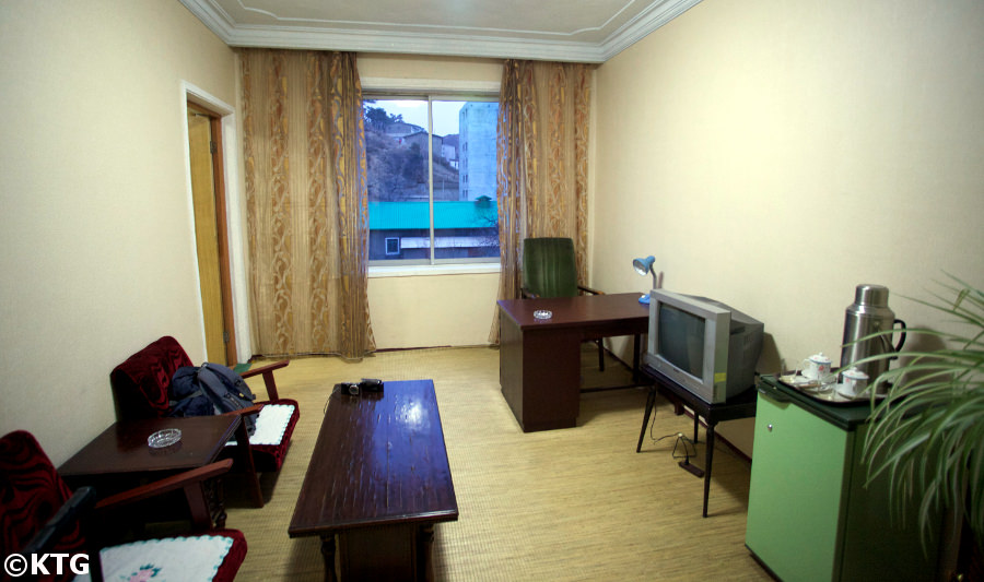 Office in one of the rooms at the Jangsusan Hotel in Pyongsong city South Pyongan province, North Korea (DPRK). Trip arranged by KTG tours