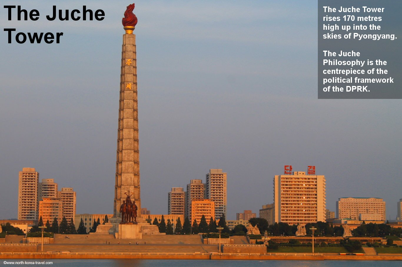 Juche Tower in Pyongyang across the Taedong River during sunset, North Korea (DPRK). Picture taken by KTG Tours