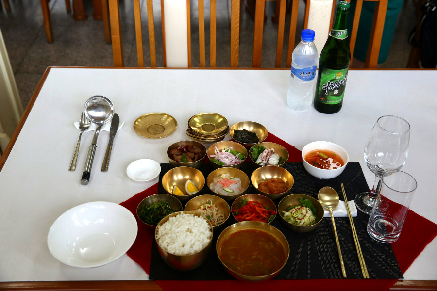 Pansangi meal in Kaesong. This consists of many dishes and used to be served to royalty in feudal Korea. The higher the number of dishes the higher the status of the person eating them! Visit Kaesong city in North Korea (DPRK) with KTG Tours. Kaesong is close to Panmunjom in the DMZ