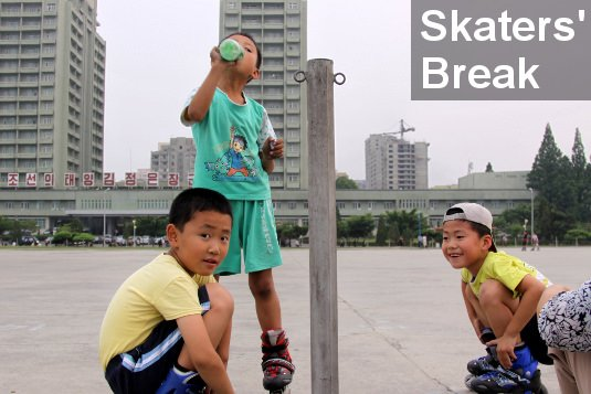 Children skating in North Korea (DPRK)