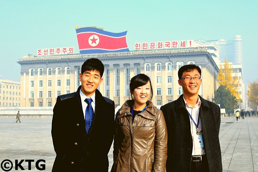 Korean guides at Kim Il Sung Square, the heart of Pyongyang, capital of North Korea (DPRK). Picture taken by KTG Tours