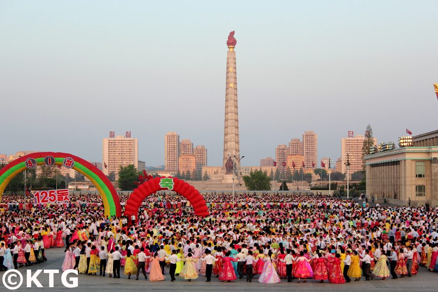 Mass Dances in Kim Il Sung Square, Pyongyang, in North Korea (DPRK). This was on 1 May 2015 to celebrate the 125 International Workers' Days. Picture taken by KTG Tours