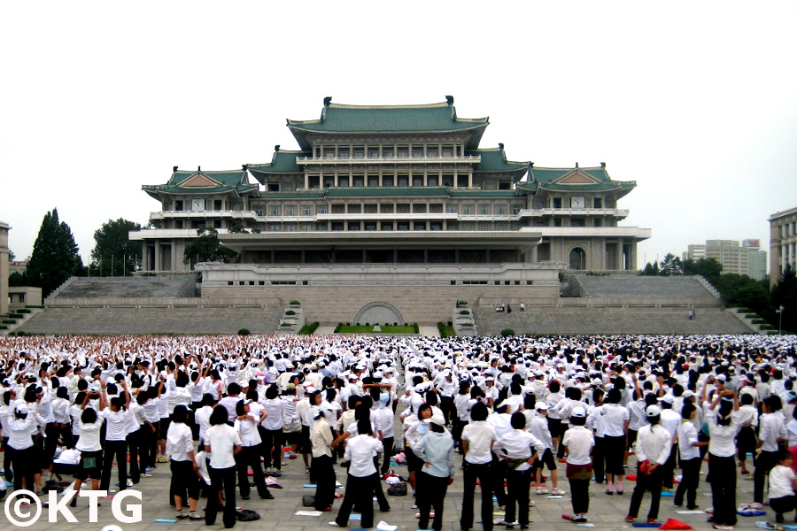 People practicing for a military parade at Kim Il Sung Square in North Korea, DPRK. Tour arranged by KTG