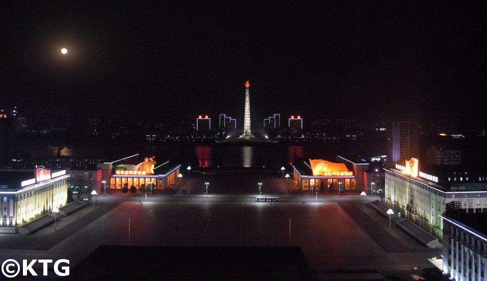 Kim Il Sung Square at night seen from the Grand People's Study House, Pyongyang North Korea (DPRK)