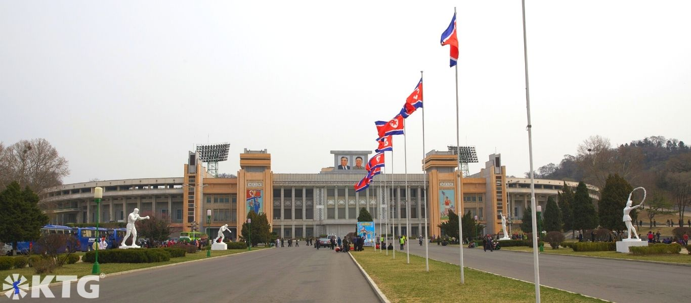 Kim Il Sung Stadium, Pyongyang, capital of North Korea (DPRK). Picture taken by KTG Tours