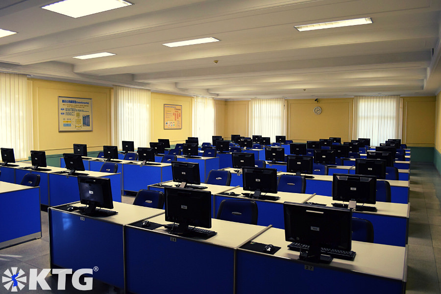 Computer lab at Kim Il Sung University in Pyongyang capital of North Korea. Picture taken by KTG Tours