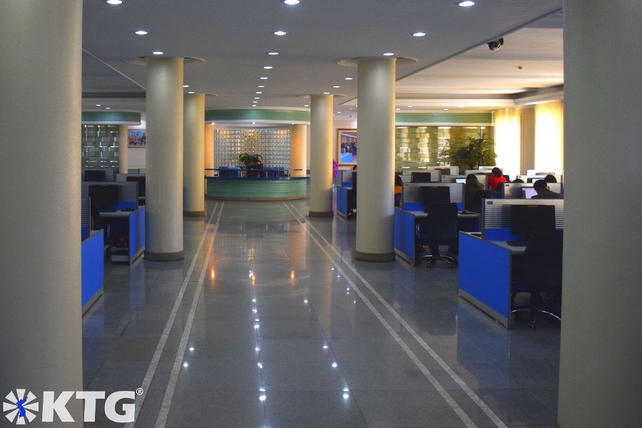 E-library at Kim Il Sung University in Pyongyang, capital city of North Korea. Picture taken by KTG Tours