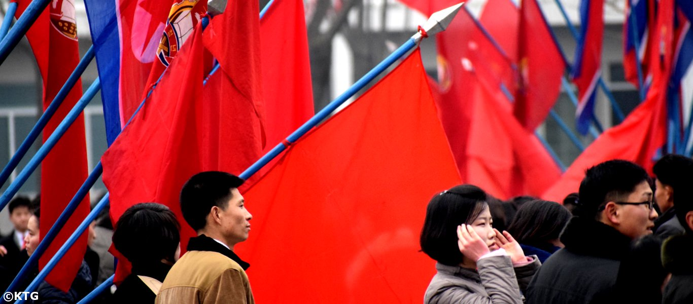Korean students getting ready for Mass Dances in Pyongyang, North Korea (DRPK)
