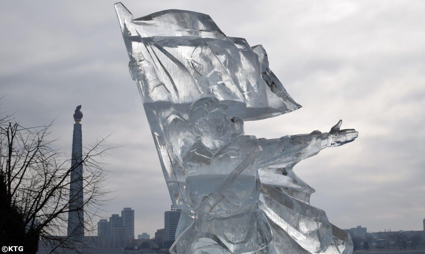 DPRK Soldier Ice Sculpture