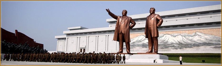 Vistas de la estatua de bronze de Kim Il Sung en Pyongyang