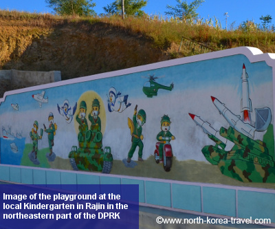 Kindergarten playground image in Rajin. Rajin and Songbong make the special economic zone known as Rason in the far northeastern part of DPRK (North Korea)