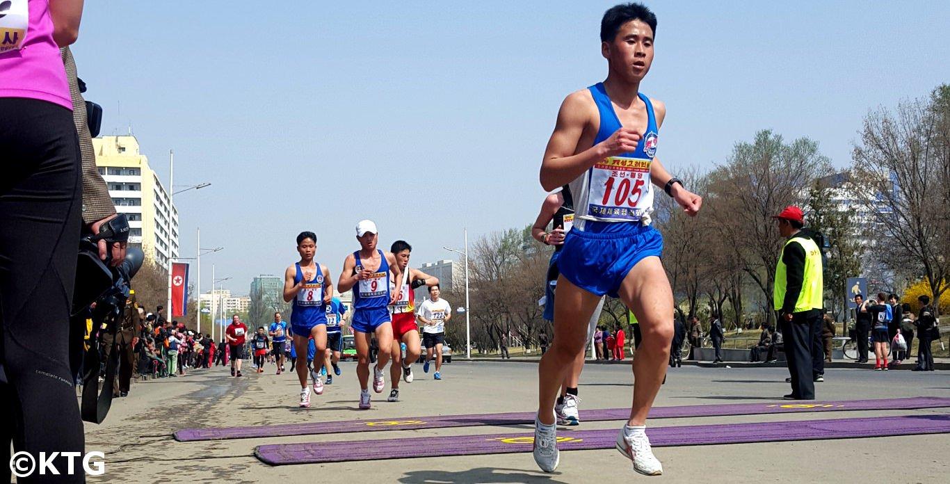 Noord-Koreaanse professionele runner bij de Pyongyang marathon