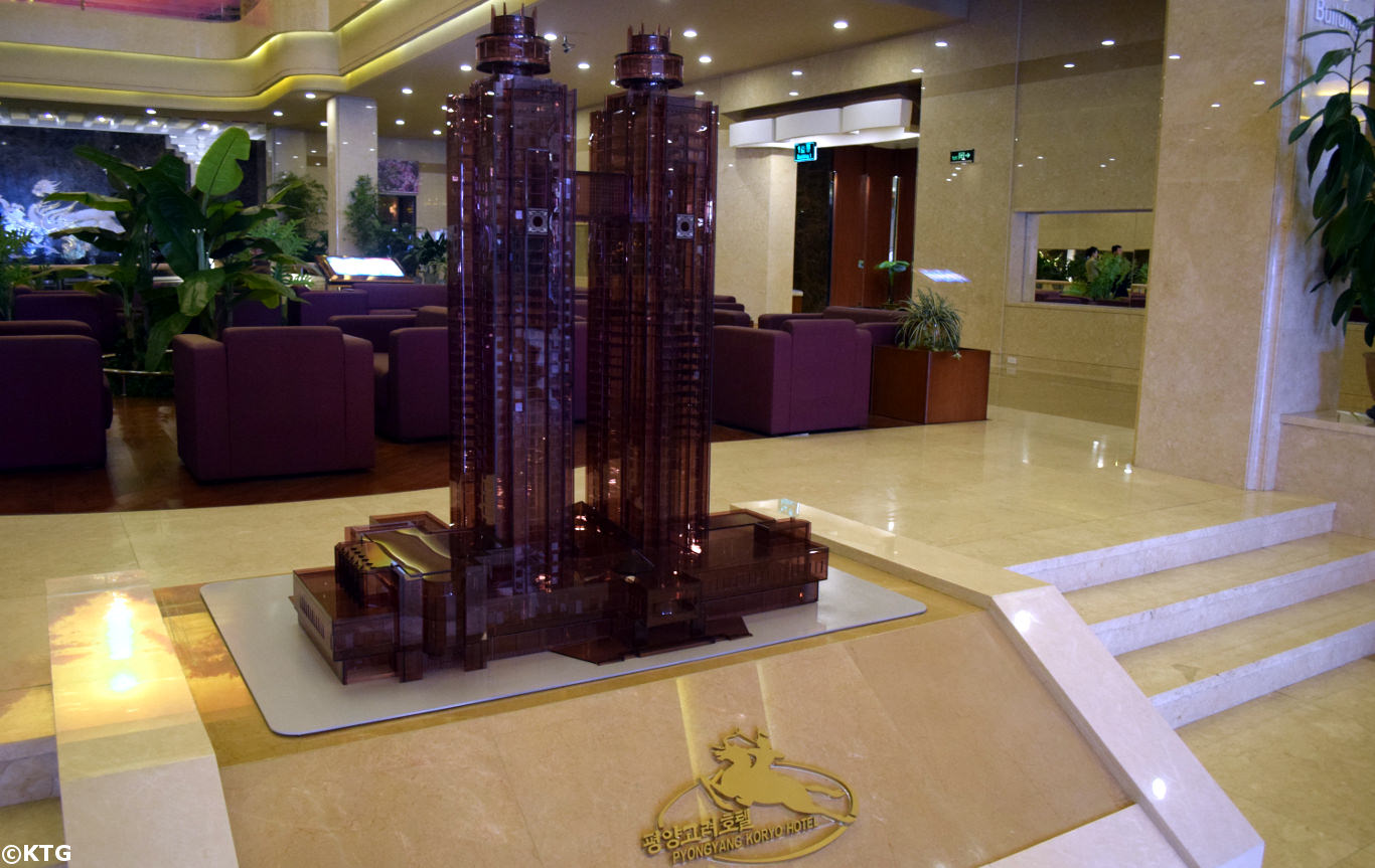Koryo Hotel lobby in Pyongyang, North Korea (DPRK). The lobby area was restored in 2017