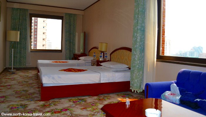 Hotel room in Pyongyang with views of the capital of North Korea