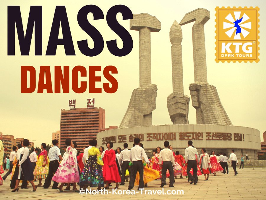 Mass Dances by the Workers' Party Monument in Pyongyang, capital of North Korea (DPRK) on 9.9 which is the country's National Day