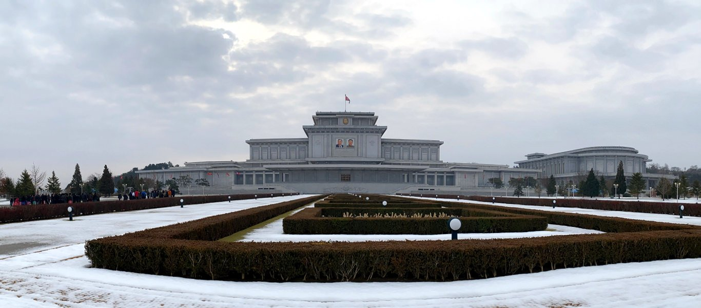 The Kumsusan Palace of the Sun in Winter. This is the most sacred place in North Korea, DPRK. Trip arranged by KTG Tours