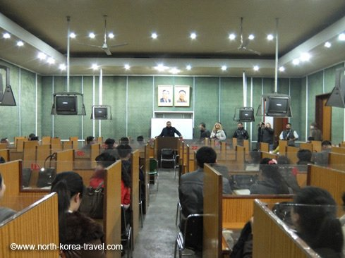 Brief lecture given by one of our travellers at the Grand People's Study House in Pyongyang