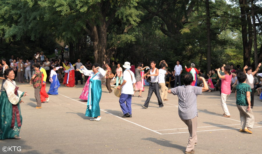 North Koreans celebrating Liberation Day in Moran Park