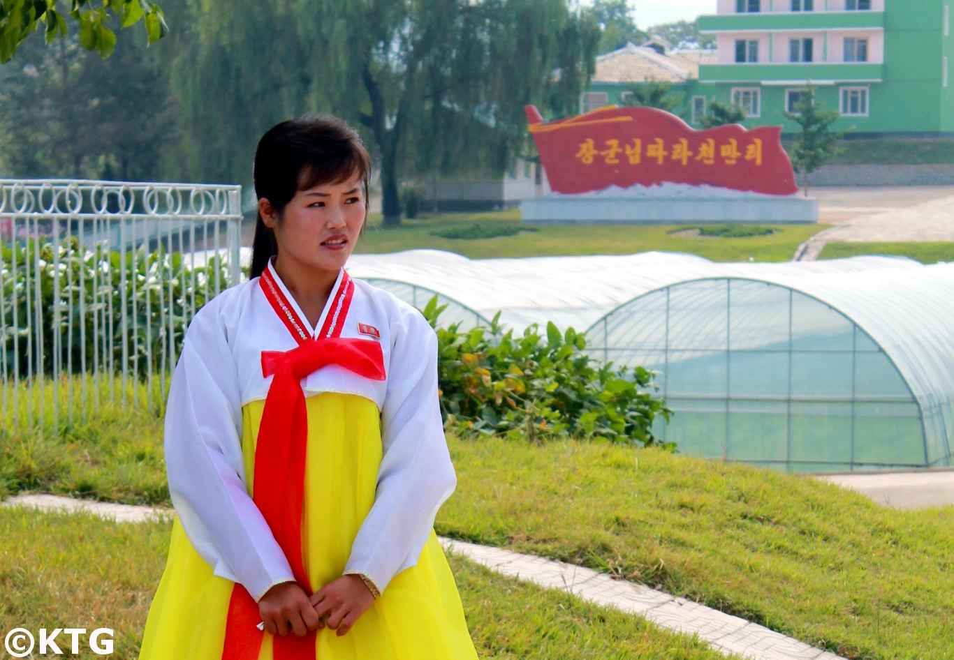 Local guide at the Chongsan-ri cooperative farm near Nampo city