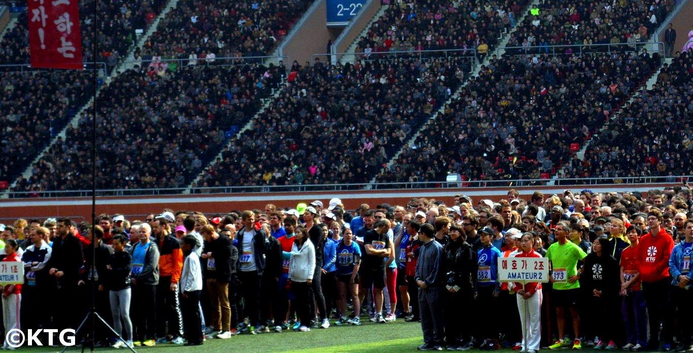 Openingsceremonie met KTG runners op de 2016 Pyongyang Marathon
