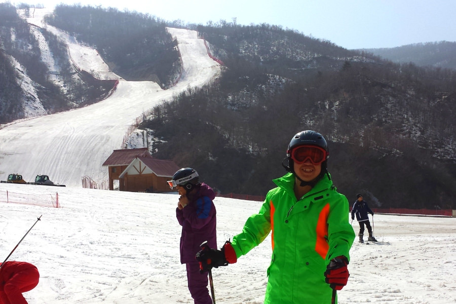 North Korean guide at the Masikryong ski resort in North Korea, with KTG tours