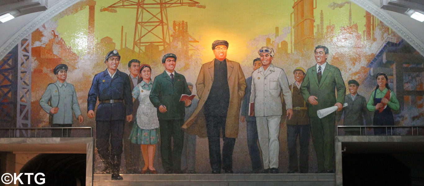 Mosaic of President Kim Il Sung in the Pyongyang metro North Korea