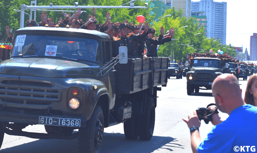 Military parade in Pyongyang capital of North Korea with KTG Tours