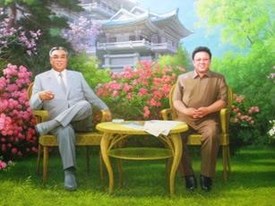 Retrato de Kim Il Sung y Kim Jong Il en el Monte Myohyang