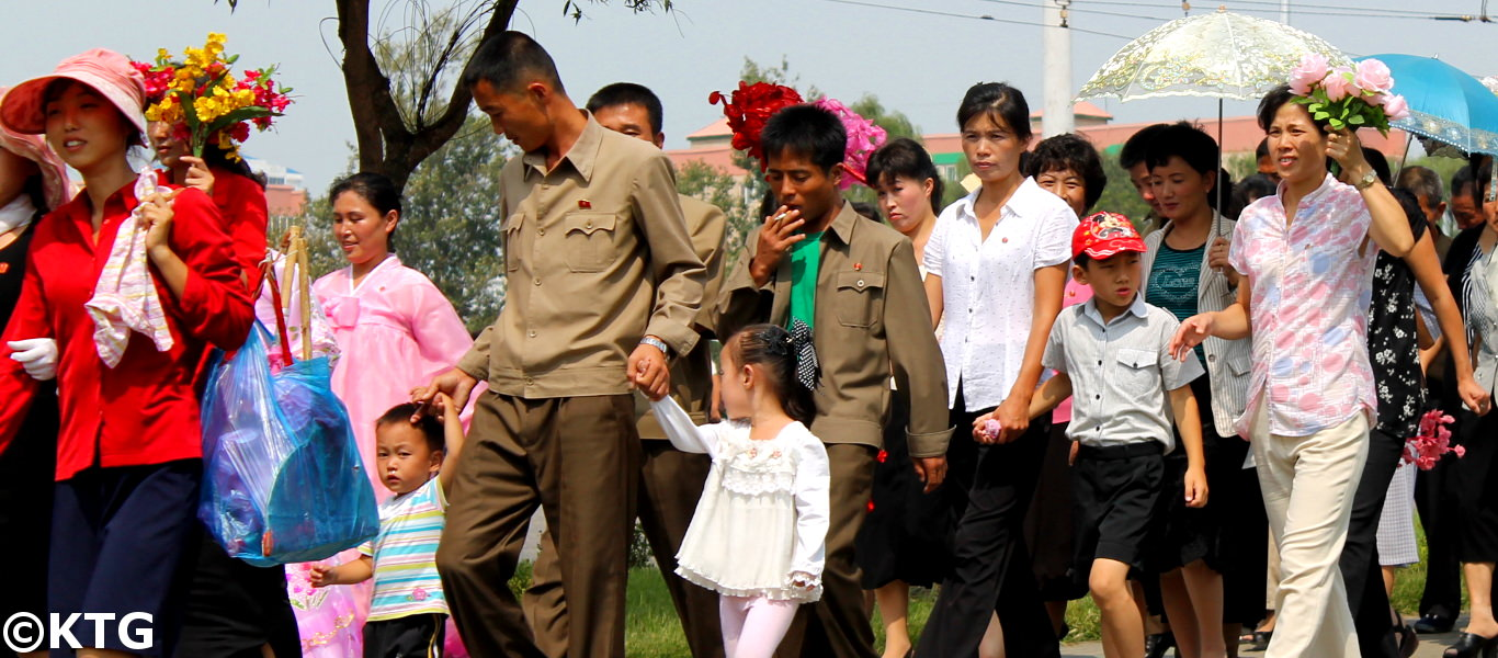 Families on National Day in DPRK (North Korea)
