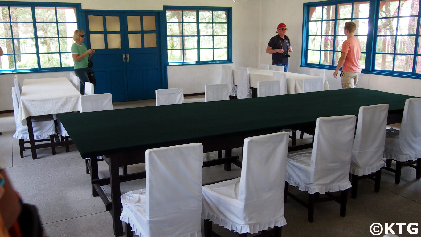 This is the room where negotiations took place between the DPRK and the UN/US during the Korean War, 1950-1953. The tables and chairs are the original ones used. You can visit this place if visiting Panmunjom, the DMZ, from North Korea. Tour arranged by KTG travel