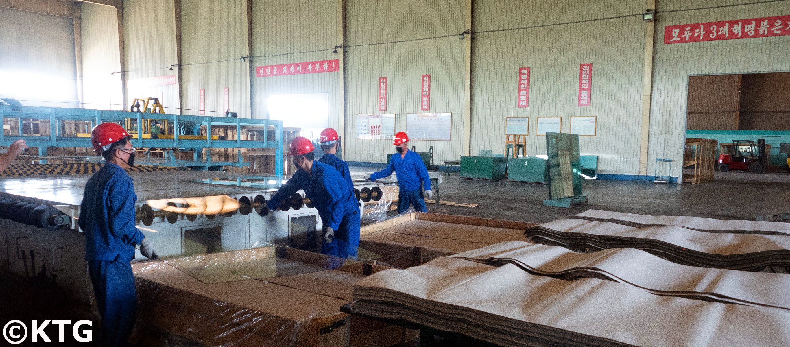 Taen glass manufacturing factory near Nampo city in North Korea (Democratic People's Republic of Korea). Trip arranged by KTG Tours