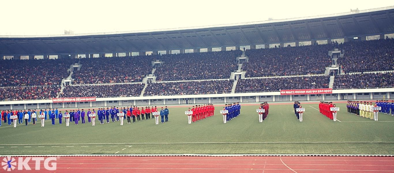Athletes lining up at Kim Il Sung Stadium in Pyongyang capital of North Korea, DPRK. Picture taken by KTG Tours