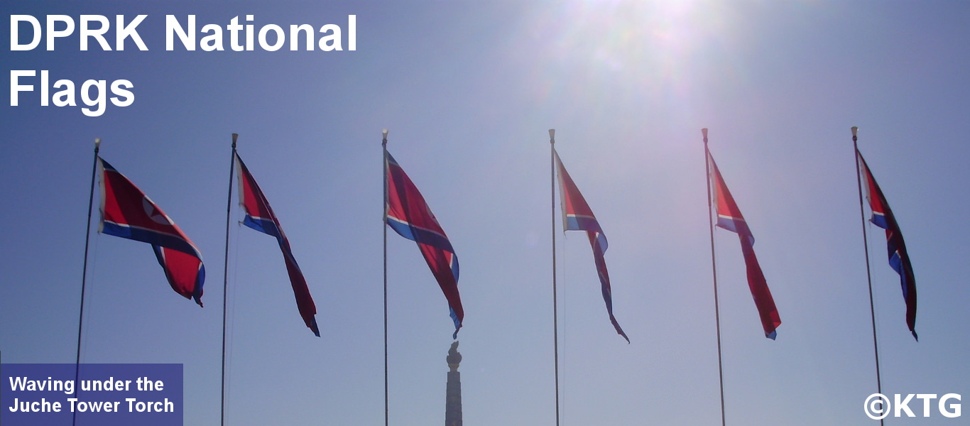 North Korean flags in Pyongyang
