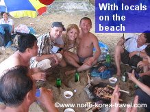 North Koreans at the beach with KTG travellers on the east coast of DPRK
