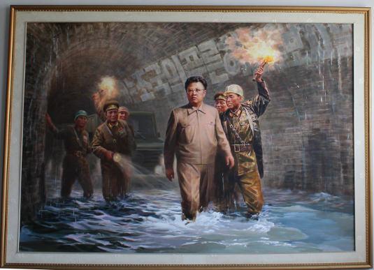 North Korean art - painting of General Kim Jong Il in Sinuiju, DPRK