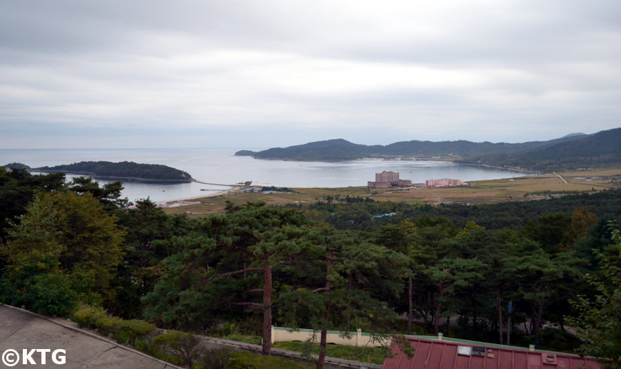 The Pipha islet in the Rason Special Economic Zone in North Korea. You can see the casino in the image. Trip organized by KTG