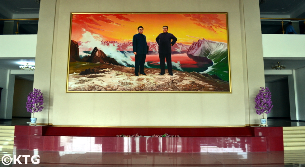 Image of the Leaders of DPRK in the lobby of the Chuangguangsan Hotel in Pyongyang, North Korea