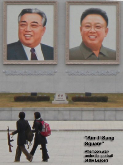 Kim Il Sung and Kim Jong Il Portraits, Kim Il Sung Square, Pyongyang, North Korea