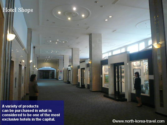 Shops at the exclusive North Korean Hotel, the Pothonggang Hotel