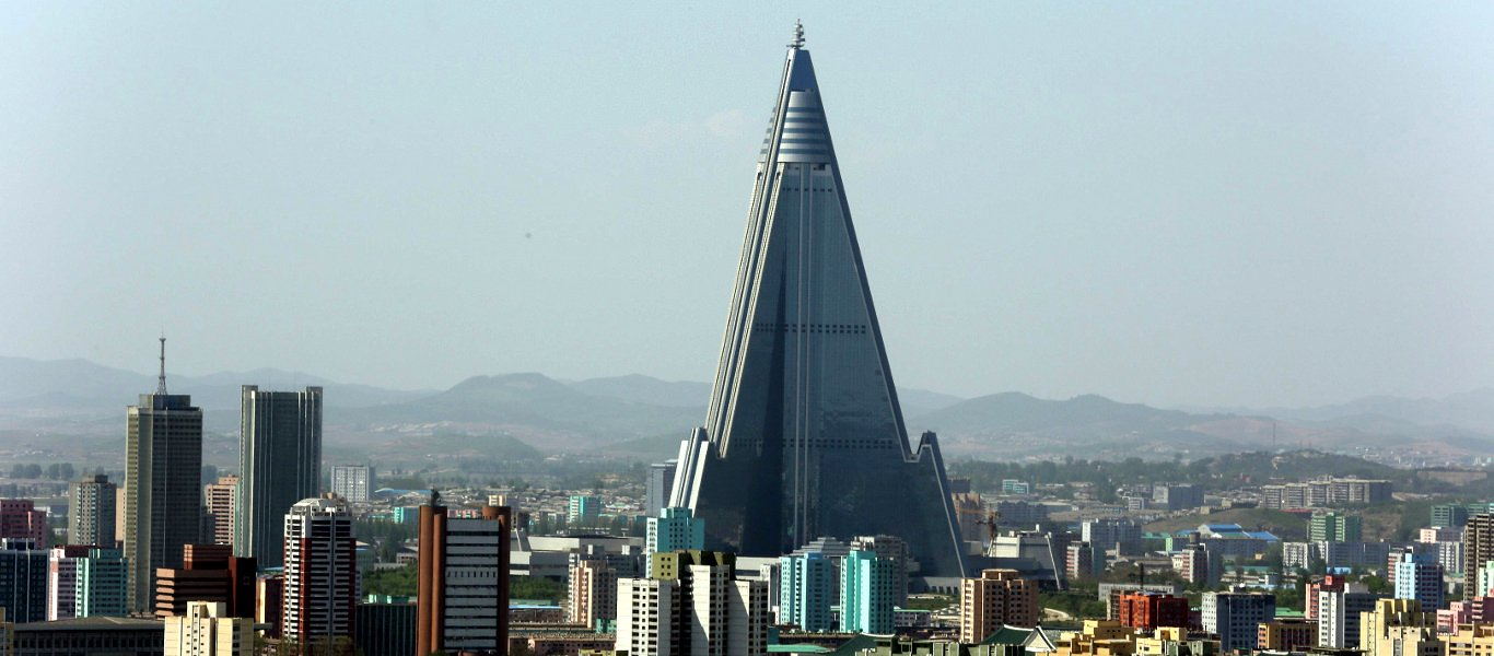 Pyongyang skylkine with the Ryugyong Hotel. Pyongyang is the capital of North Korea officially called the DPRK. Trip arranged by KTG Tours