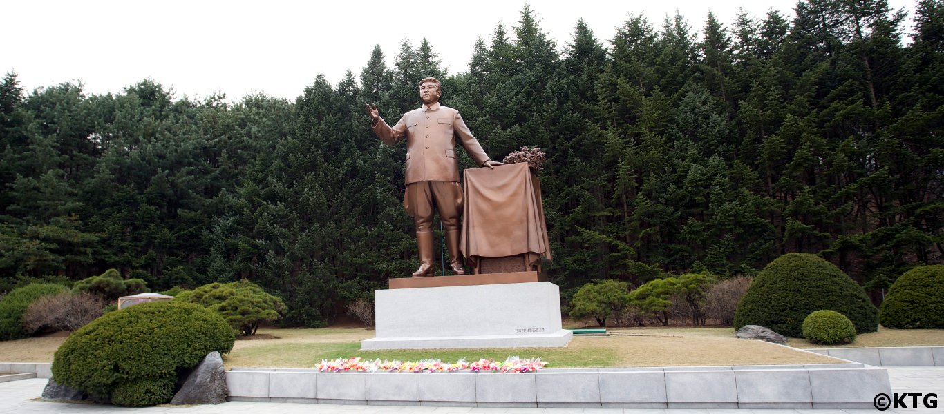 Statue of President Kim Il Sung at Paeksong-ri revolutionary site near Pyongsong, North Korea, DPRK. Picture taken by KTG Tours.