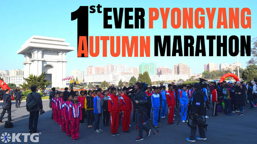 Foreign press and Korean athletes at the opening ceremony of the first ever Pyongyang Autumn Marathon, North Korea capital of the DPRK. Trip arranged by KTG Tours