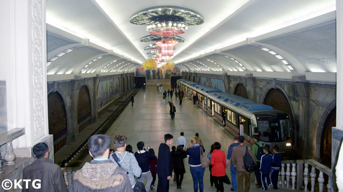 Pyongyang metro in North Korea, DPRK. KTG Tours can arrange extended metro rides