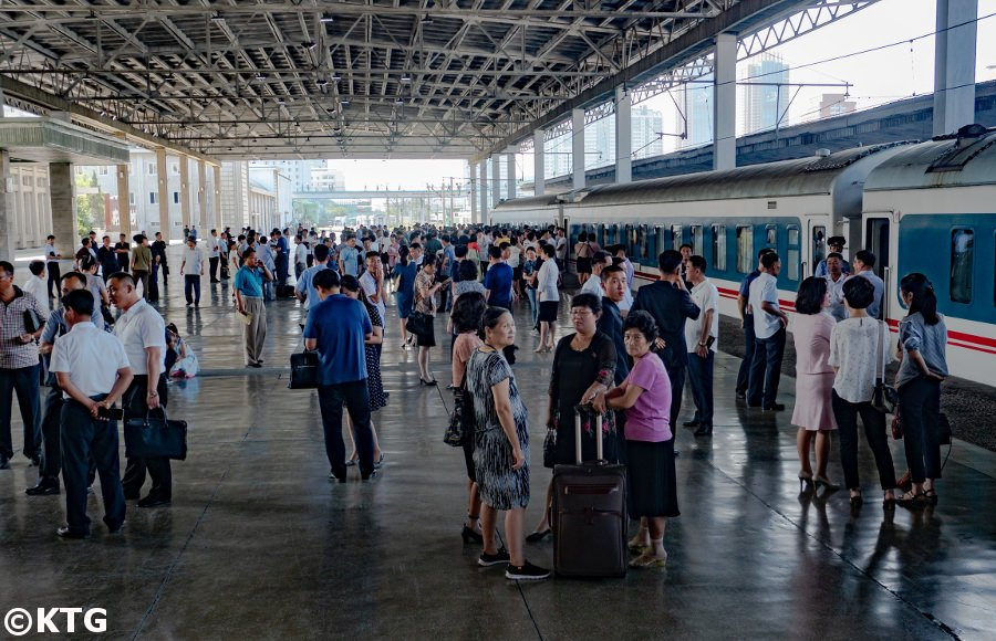 North Koreans at the Pyongyang train station, North Korea, DPRK. Trip arranged by KTG Tours