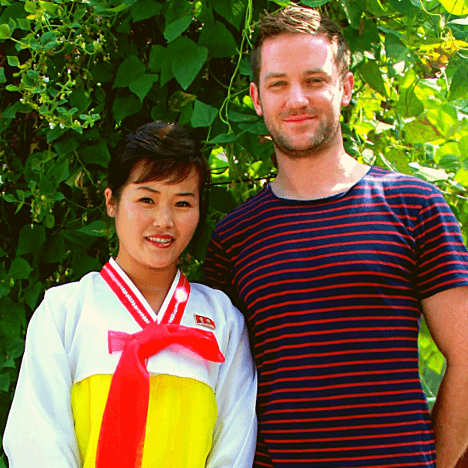 KTG traveller at the Chongsanri cooperative farm near Nampo city in North Korea, DPRK