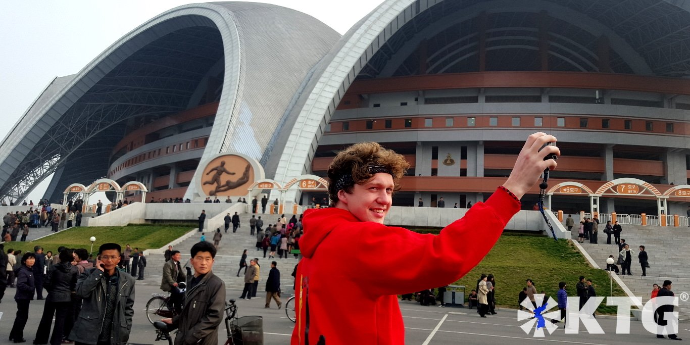 Rungrado May Day stadium seen from outside. This is the biggest football stadium in the world and has capacity for 150,000 spectators. Visit the Rungrado May Day Stadium in Pyongyang capital of North Korea, DPRK, with KTG Tours