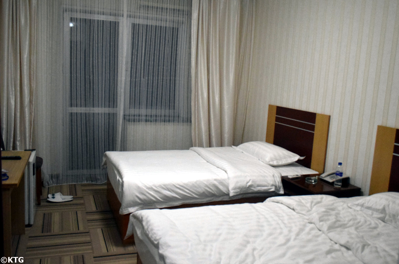 Room in the Ryanggang Hotel lobby in Pyongyang, North Korea (DPRK). This is a first class hotel in North Korea. Picture taken by KTG Tours