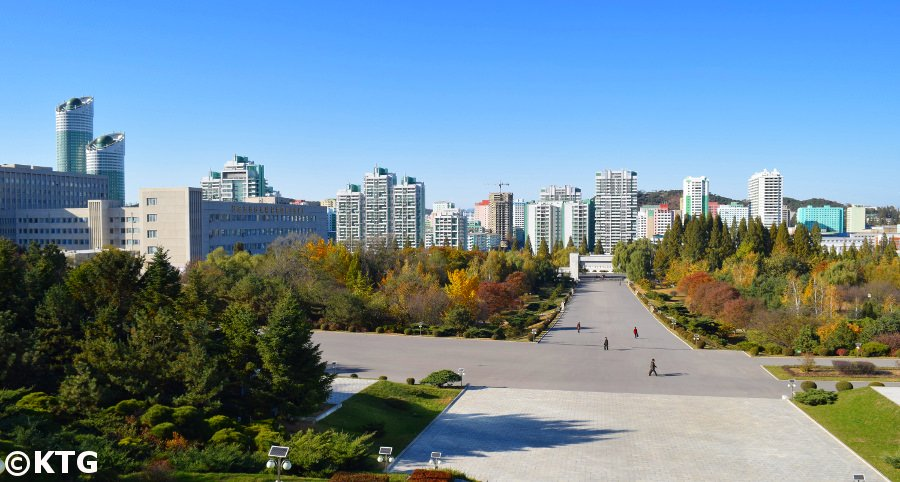 Ryomyong street in Pyongyang seen from Kim Il Sung University's campus