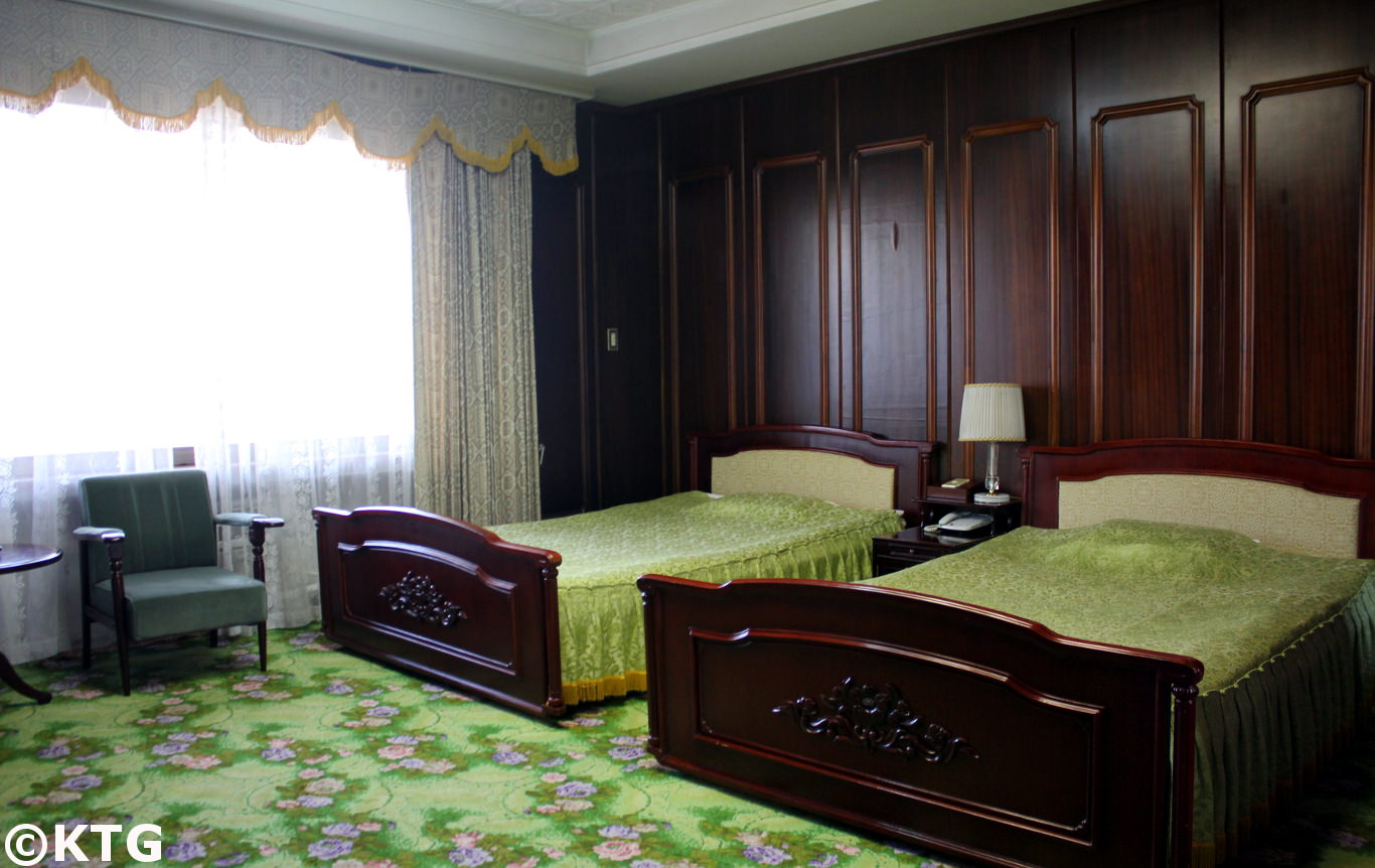Room at the Ryonggang Hot Spa Hotel in North Korea, DPRK. Trip arranged by KTG Tours